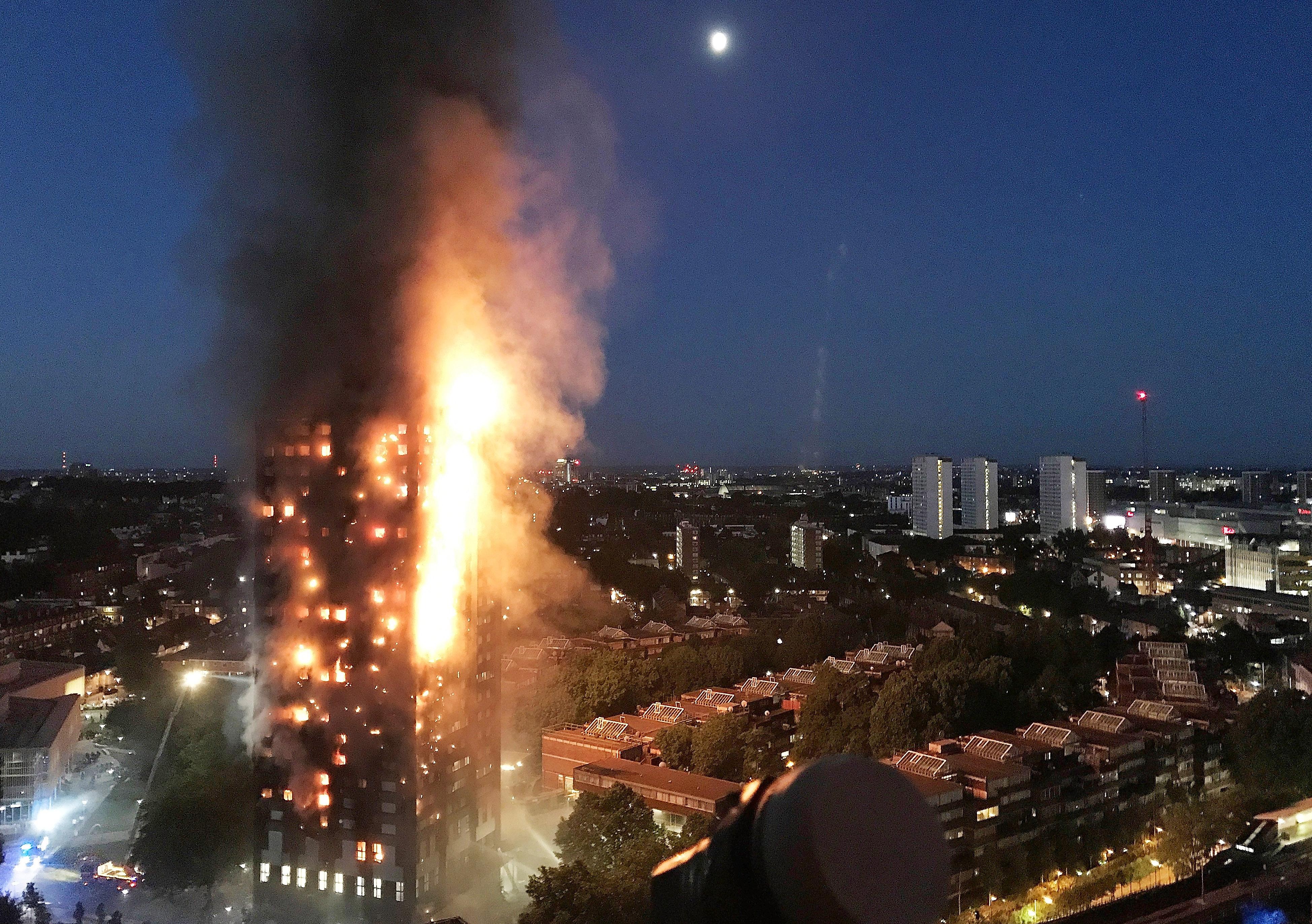 27-Storey Grenfell Tower Block On Fire In West London