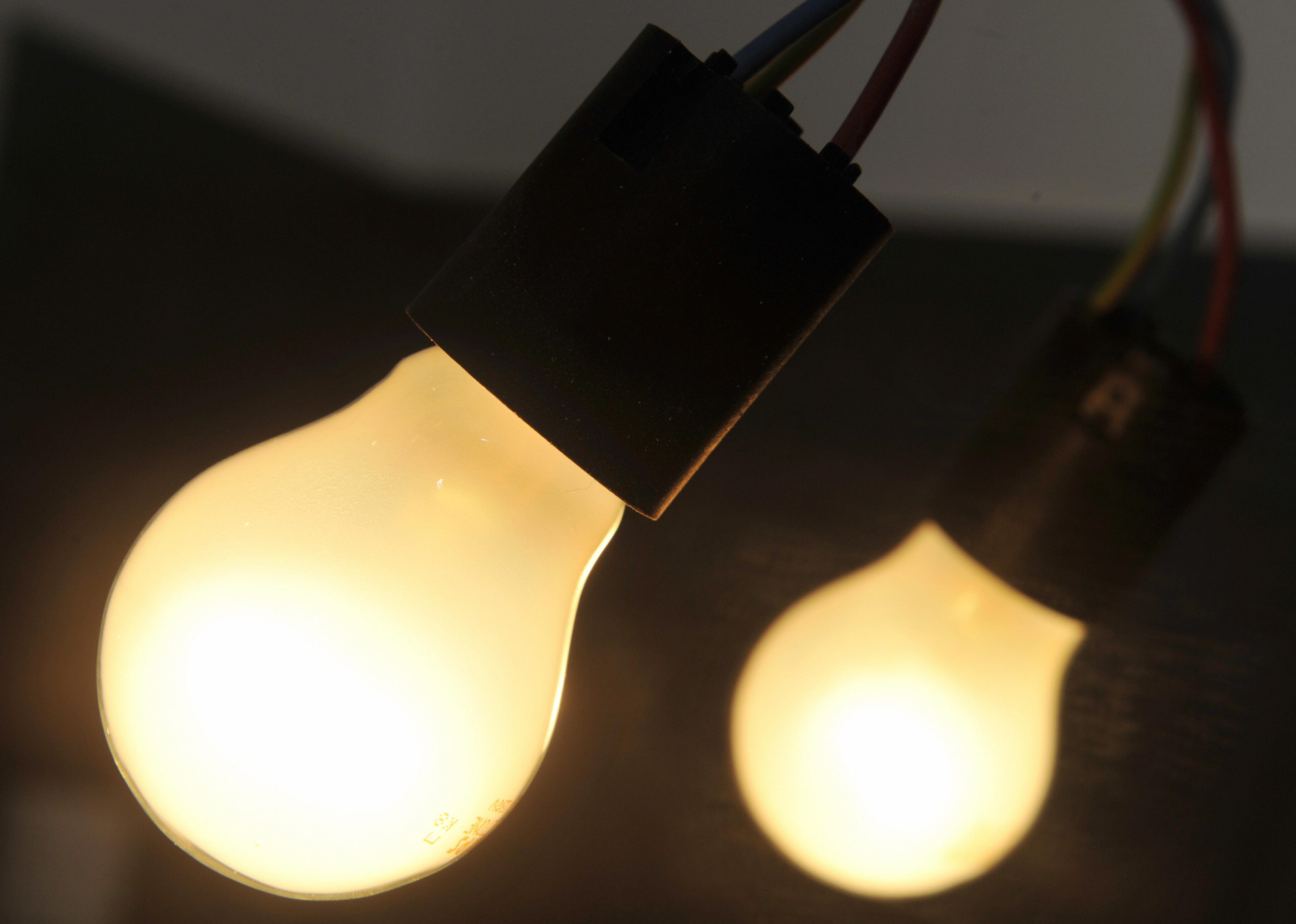 Light bulbs are pictured on December 7,
