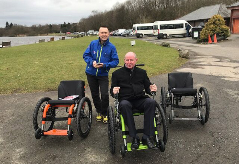 David Hill with Mick Kelly at Castle Semple mountain trike