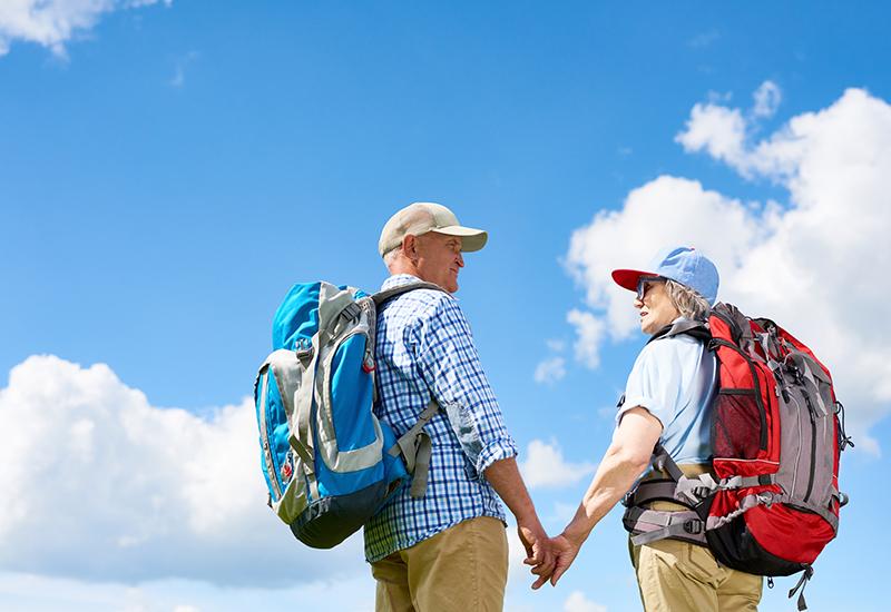 Loving Senior Couple Hiking Together