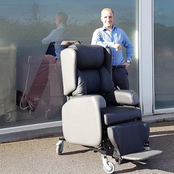David Jordan with the Lento Hospital Spec Chair