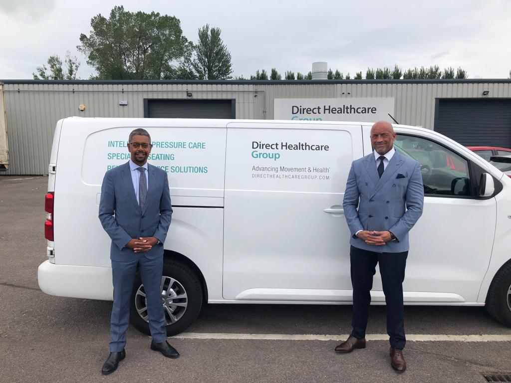Vaughan Gething MS Minister of economy for Wales with Graham Ewart CEO Direct Healthcare Group